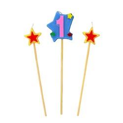 Bougies chiffre 1 et étoiles sur piques Patisdécor