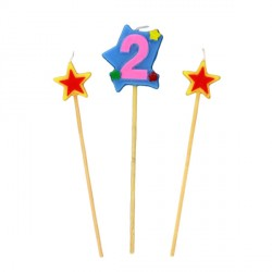 Bougies chiffre 2 et étoiles sur piques Patisdécor