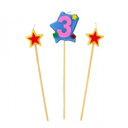 Bougies chiffre 3 et étoiles Gatodéco