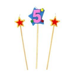 Bougies chiffre 5 et étoiles Patisdécor