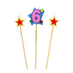 Bougies chiffre 6 et étoiles Patisdécor