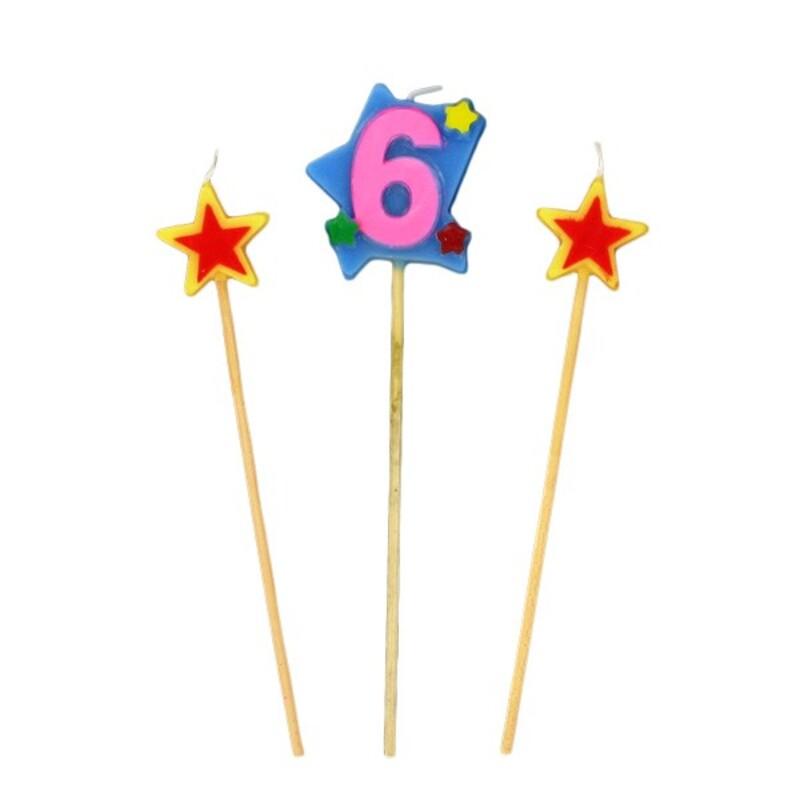 Bougies chiffre 6 et étoiles Gatodéco