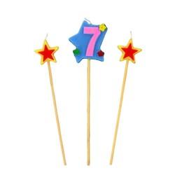 Bougies chiffre 7 et étoiles Patisdécor