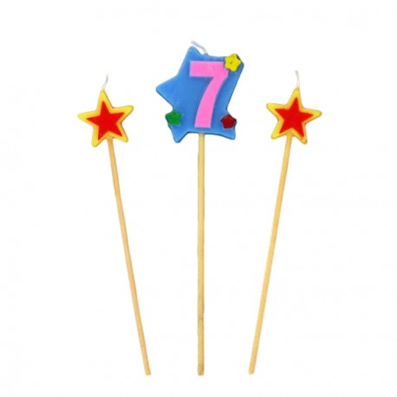 Bougies chiffre 7 et étoiles Gatodéco