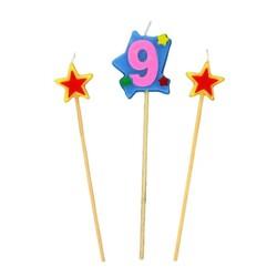 Bougies chiffre 9 et étoiles sur piques Patisdécor