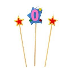 Bougies chiffre 0 et étoiles sur piques Patisdécor