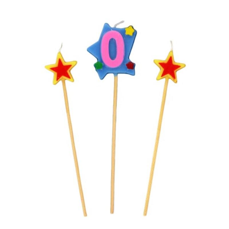Bougies chiffre 0 et étoiles Gatodéco