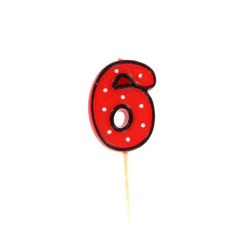 Bougie anniversaire chiffre 6 Fête Gatodéco