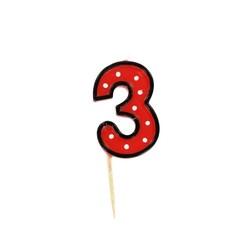 Bougie anniversaire chiffre 3 Fête Gatodéco