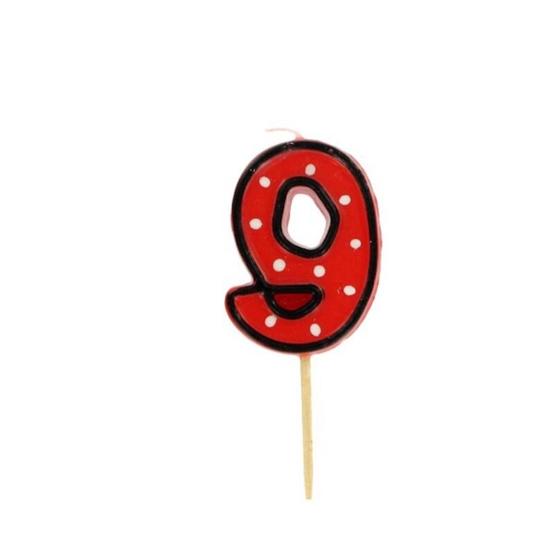 Bougie anniversaire chiffre 9 Fête Gatodéco