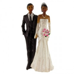 Couple mariés noirs bouquet A Gatodéco