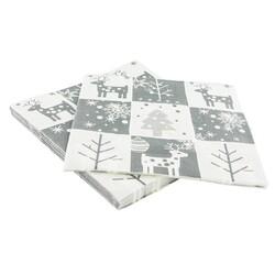 20 Serviettes en papier motifs Noël grises Patisdecor