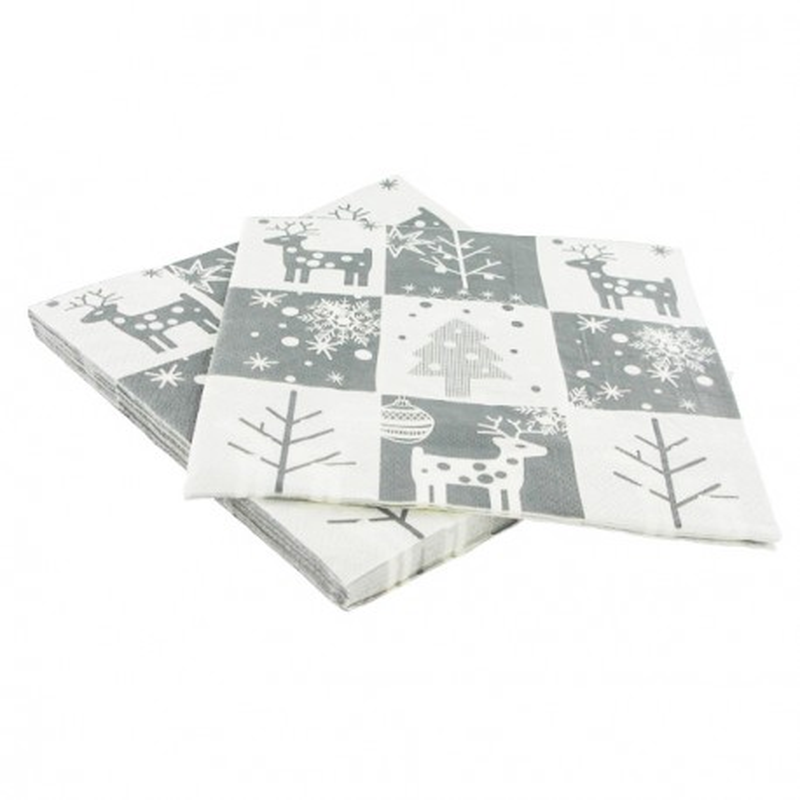 20 Serviettes en papier motifs Noël rouges Gatodéco