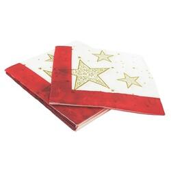 20 Serviettes en papier étoiles dorées Patisdecor