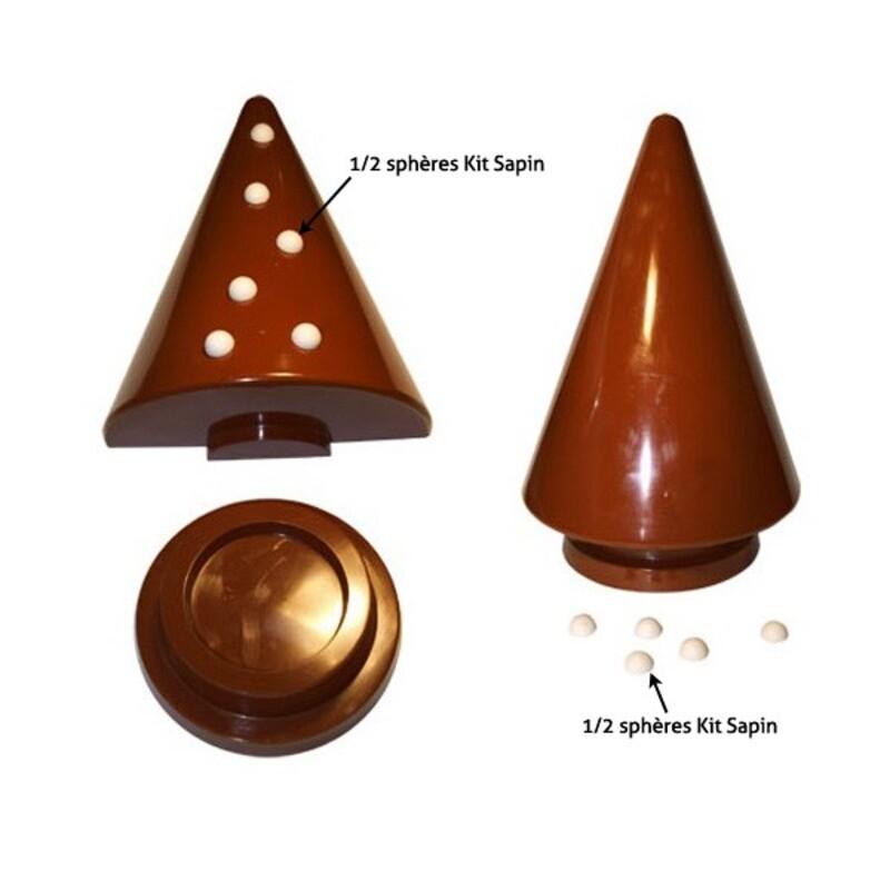 Moule chocolat 1/2 sphères kit sapin