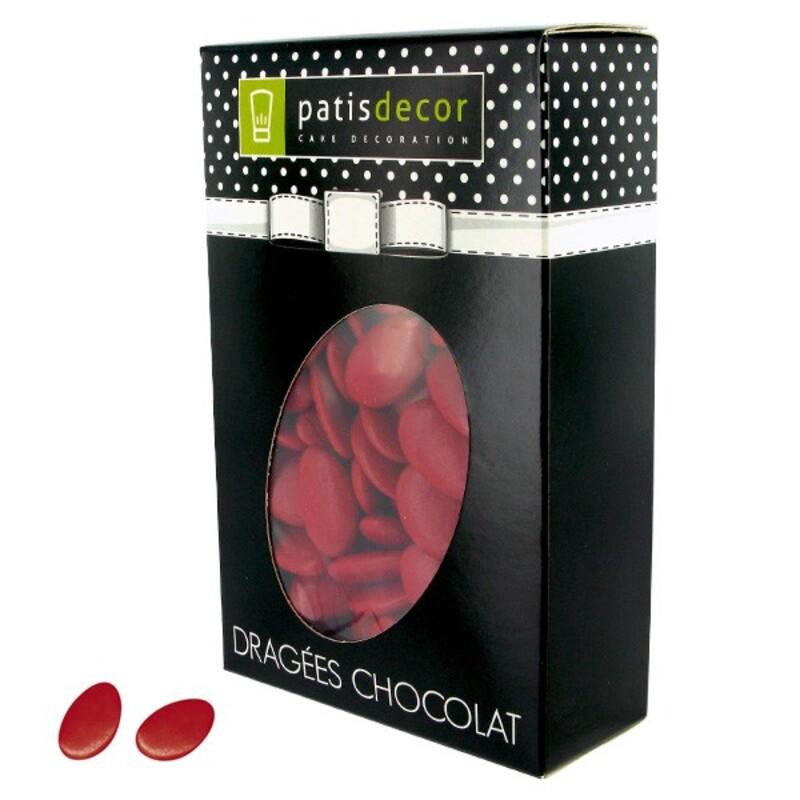 Dragées chocolat rouge cerise Patisdécor 500 g