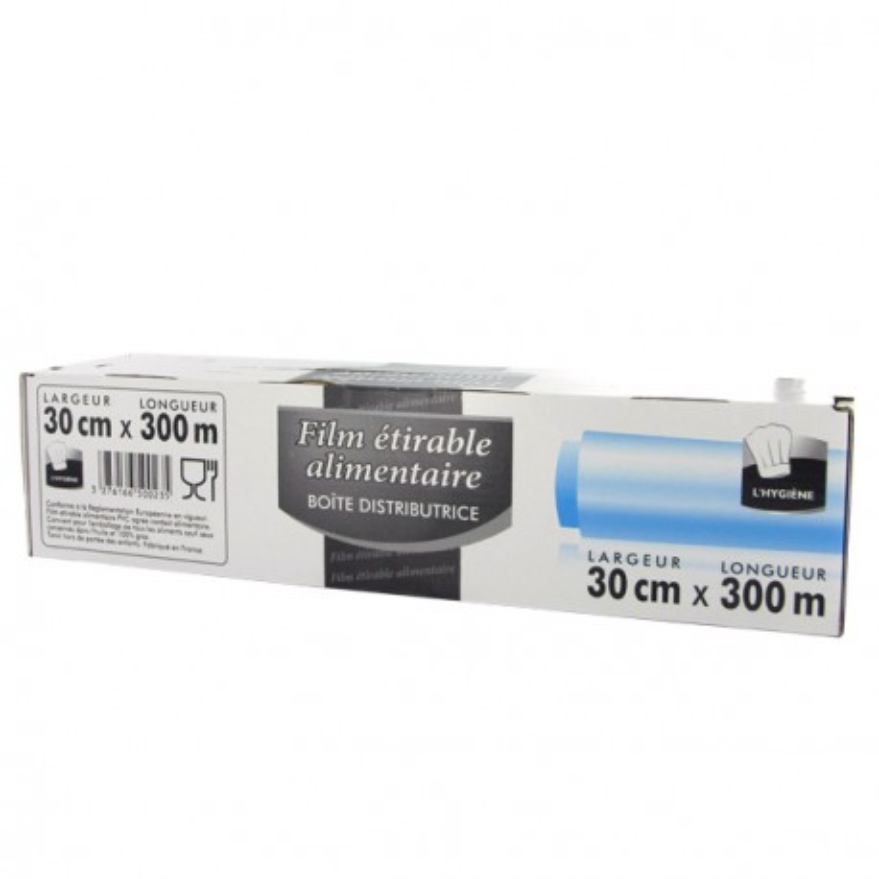 Film étirable alimentaire en boîte distributrice L30 cm