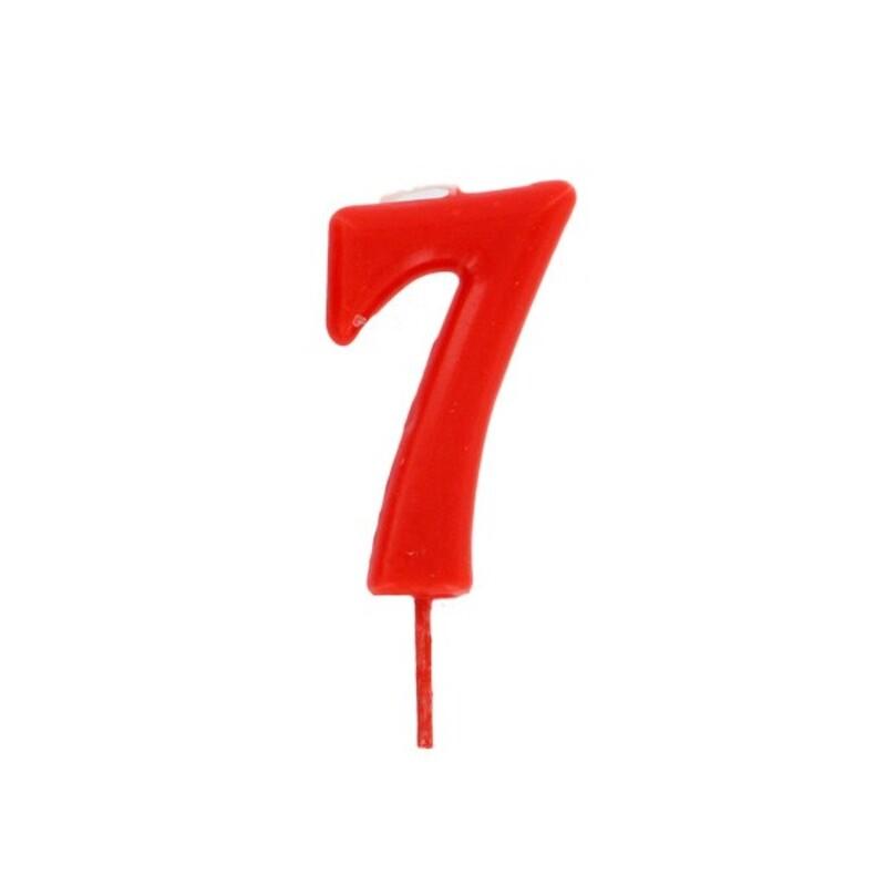 Bougie anniversaire chiffre 7 Rouge Gatodéco