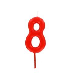 Bougie anniversaire chiffre 8 Rouge Patisdécor