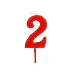 Bougie anniversaire chiffre 2 Rouge Patisdécor