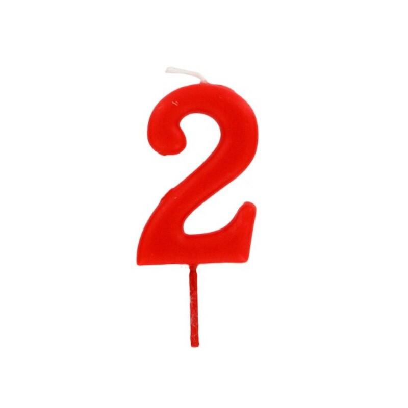 Bougie anniversaire chiffre 2 Rouge Gatodéco