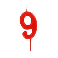 Bougie anniversaire chiffre 9 Rouge Patisdécor
