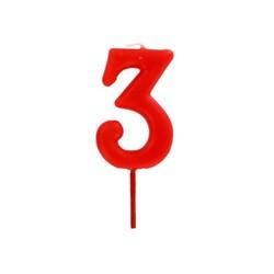 Bougie anniversaire chiffre 3 Rouge Patisdécor