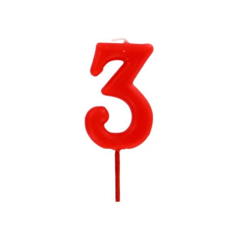 Bougie anniversaire chiffre 3 Rouge Gatodéco
