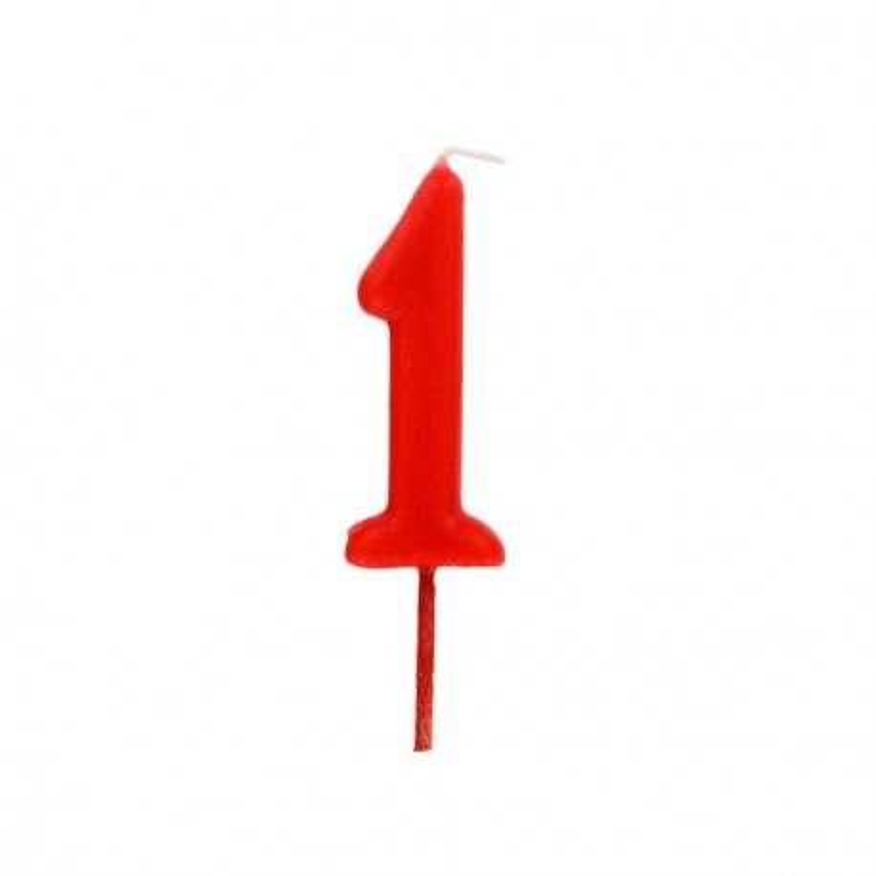 Bougie anniversaire chiffre 1 Rouge Gatodéco