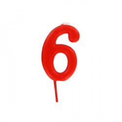 Bougie anniversaire chiffre 6 Rouge Patisdécor