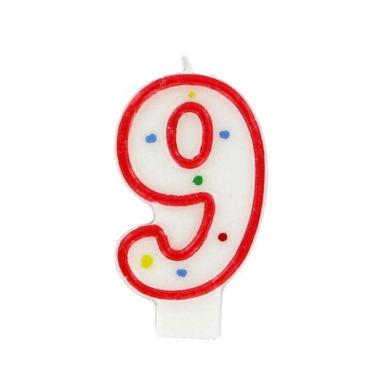 Bougie anniversaire chiffre Fiesta 9 Gatodéco