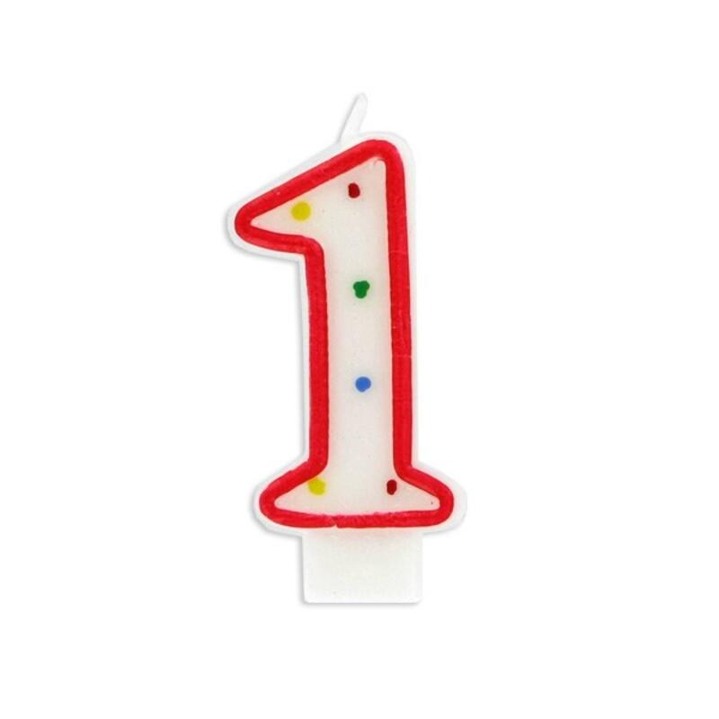 Bougie anniversaire chiffre Fiesta 1 Gatodéco