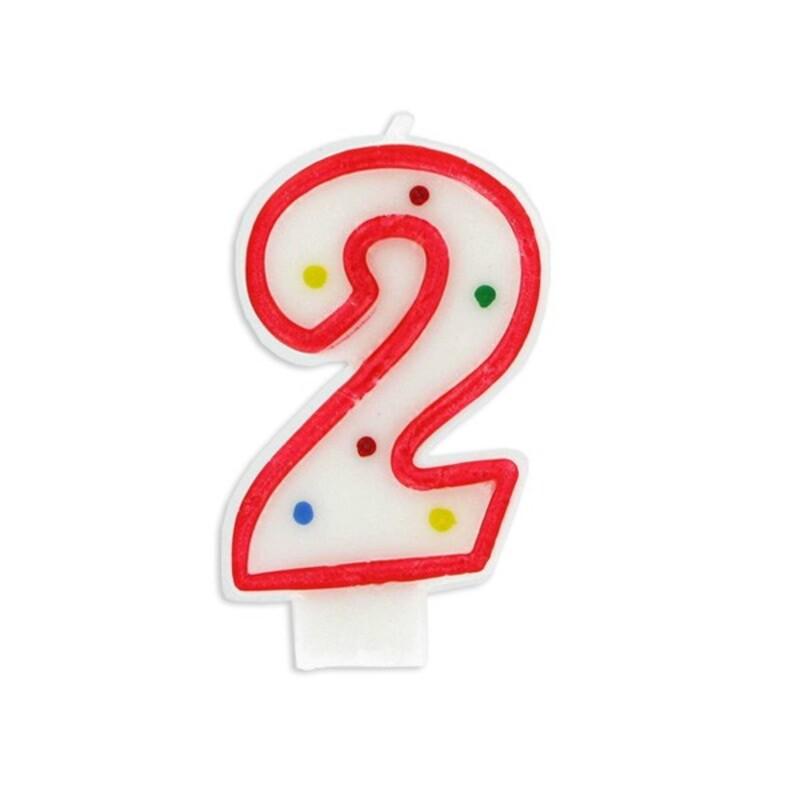 Bougie anniversaire chiffre Fiesta 2 Gatodéco
