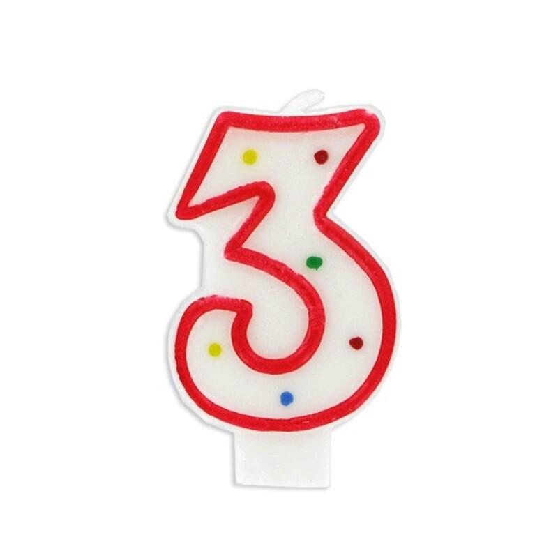 Bougie anniversaire chiffre Fiesta 3 Gatodéco