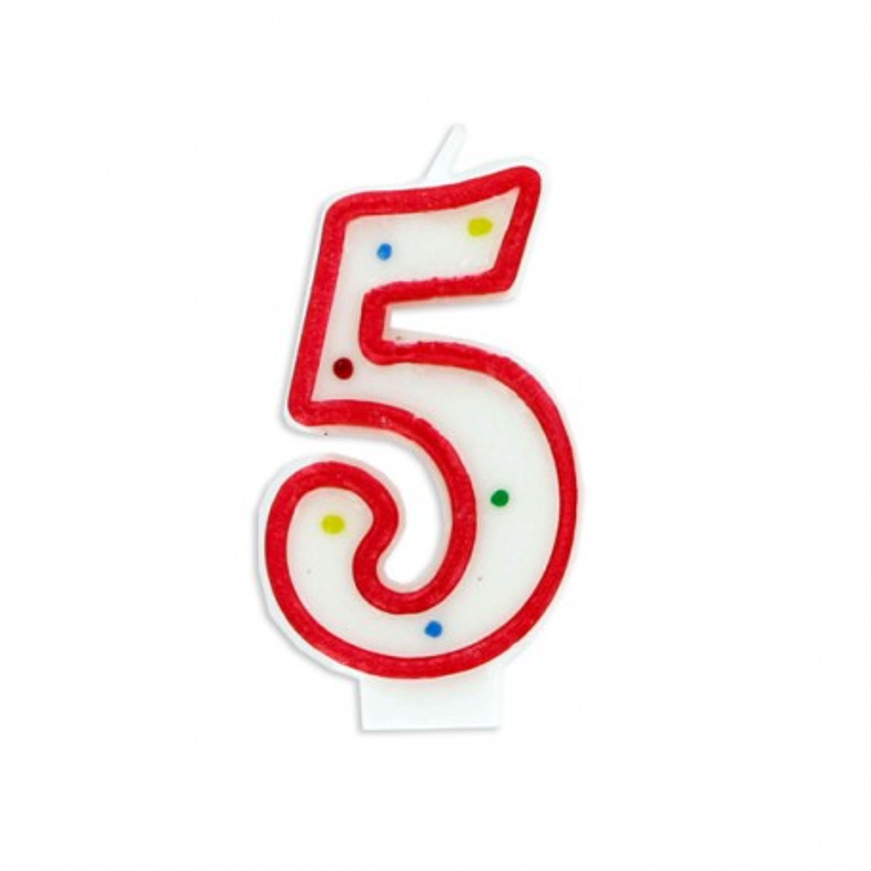 Bougie anniversaire chiffre Fiesta 5 Gatodéco