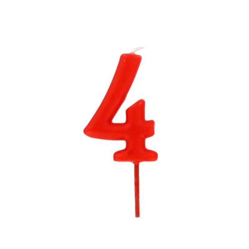 Bougie anniversaire chiffre 4 Rouge Gatodéco