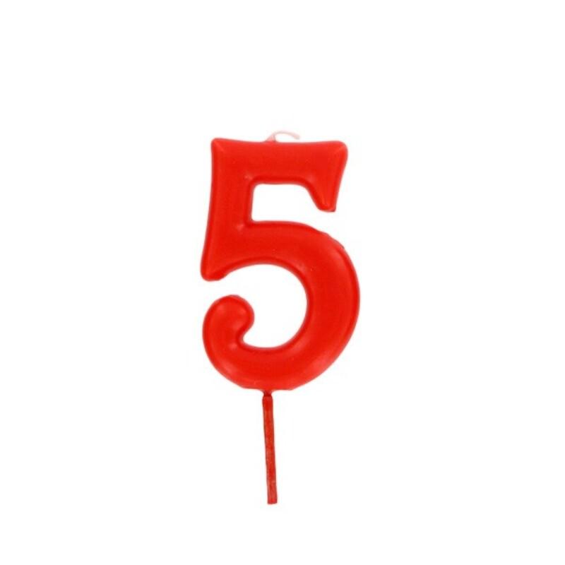 Bougie anniversaire chiffre 5 Rouge Gatodéco