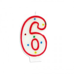 Bougie anniversaire chiffre Fiesta 6 Patisdécor