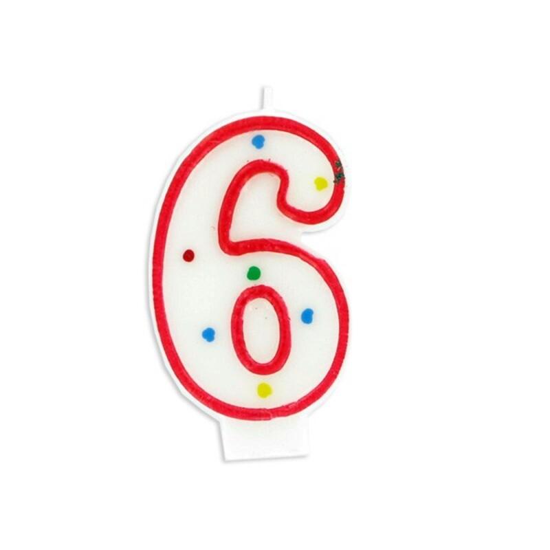 Bougie anniversaire chiffre Fiesta 6 Gatodéco