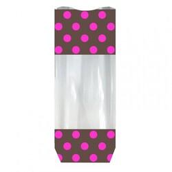 Sachet chocolat pois roses fond carton (x100)