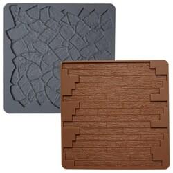 Tapis silicone texture pierre/bois Wilton (x2)