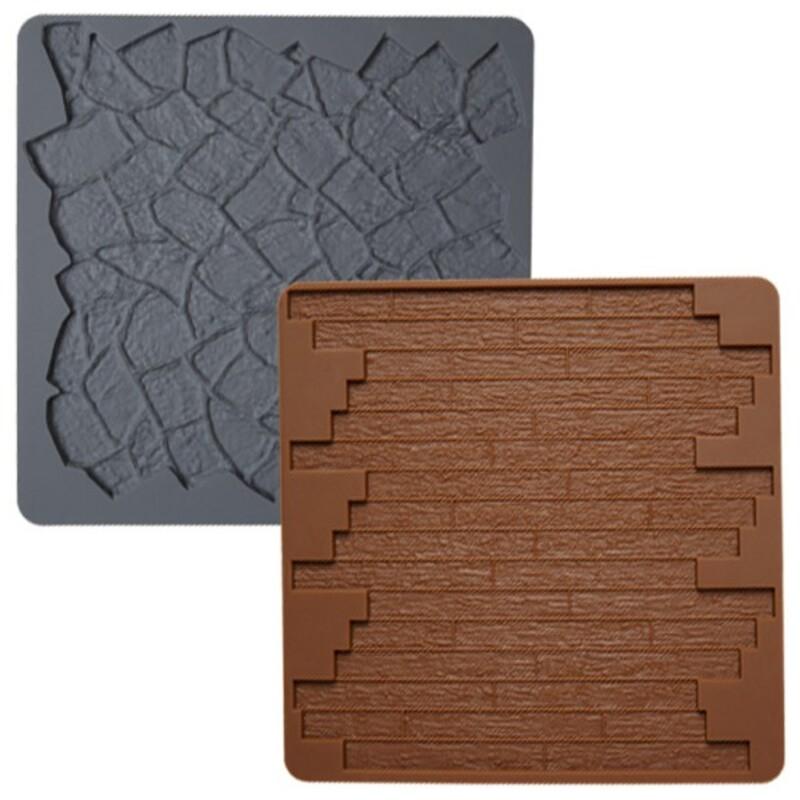Tapis silicone texture pierre/bois (x2)