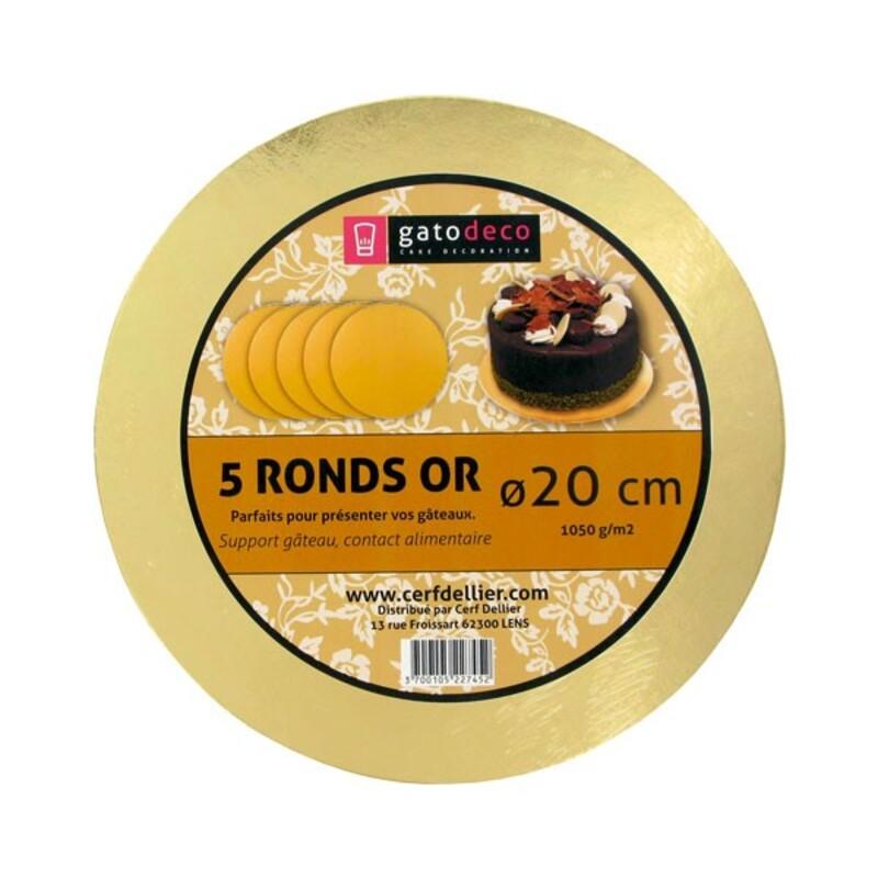 Ronds or 20 cm Gatodéco (x5)