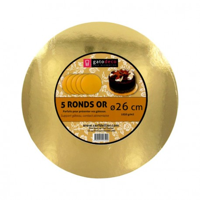 Ronds or 26 cm Gatodéco (x5)