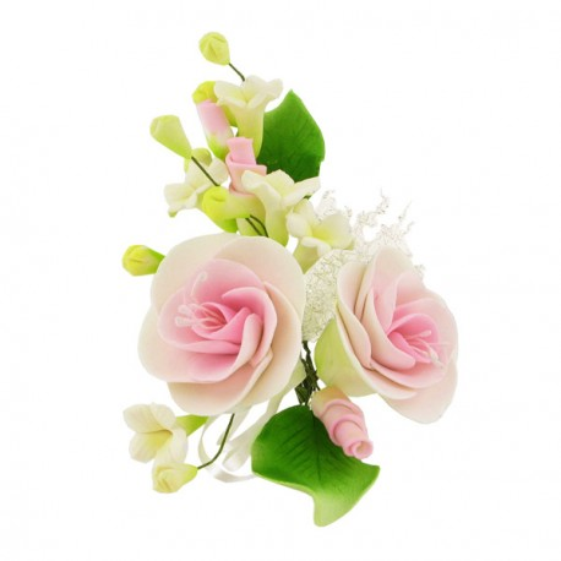 Petit bouquet de fleurs pastillage rose