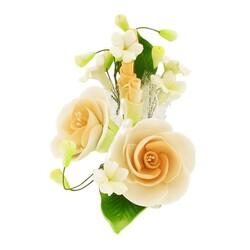 Petit bouquet de fleurs pastillage pêche
