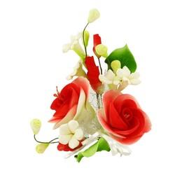 Petit bouquet de fleurs pastillage rouge