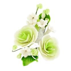 Petit bouquet de fleurs pastillage vert
