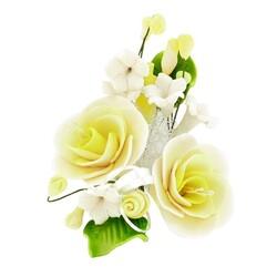 Petit bouquet de fleurs pastillage jaune pâle