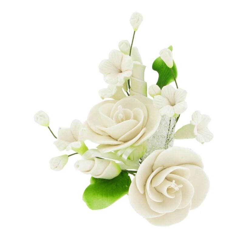 Petit Bouquet De Fleurs Pastillage Blanc Pas Cher Cerf Dellier
